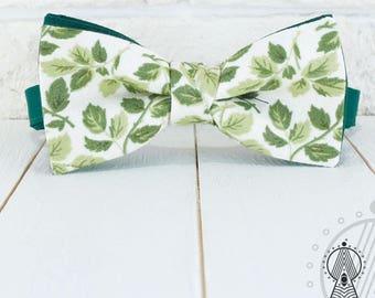 Floral Bow Tie, Green Bowtie, Cotton bow tie, Foliage, Men's bow tie, Women's bow tie, Children's bow tie