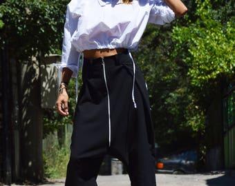 Black 7/8 Drop Crotch Pants, Extravagant Cold Wool Harem Pants, Casual Fashion Wide Leg Pants by SSDfashion