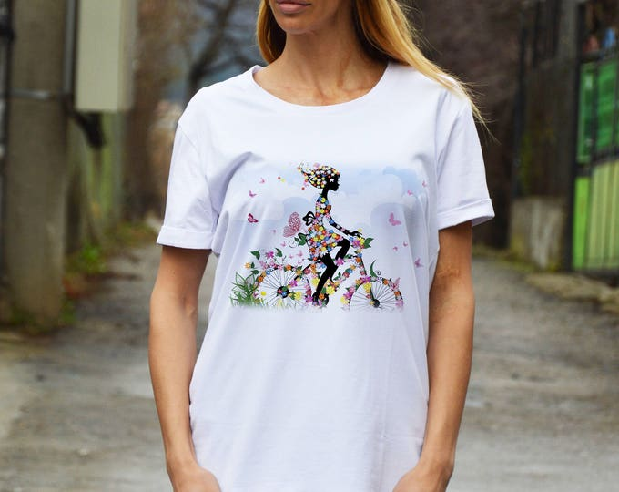 Women With Bicycle White Cotton T-shirt, Plus Size Printed T-shirt, Extravagant Party Top By SSDfashion