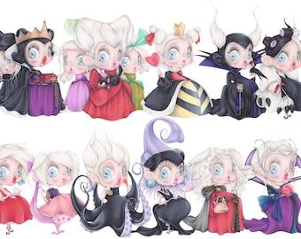 Disney villains pop surrealism queen hearts snow white cinderella ursula pastel art print