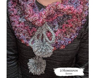 Handmade scarf, Pompom scarf Cowl Wool Chunky Cowl Womens Scarf Gift for her Handmade Crochet Scarf Women's Scarf
