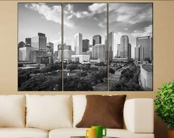 Houston, Texas skyline canvas wall art  Houston canvas wall art art Houston wall decoration Houston large canvas wall art