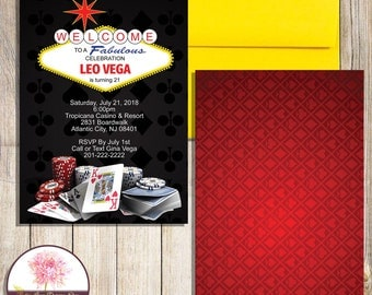 Stella Las Vegas Glitter Wedding Invitation Casino
