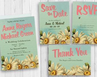 Floral Invite Set - Daisy Wedding Invitations - Spring Wedding Ideas - Bohemian Wedding Set - Wedding Invitation - Bohemian Invite