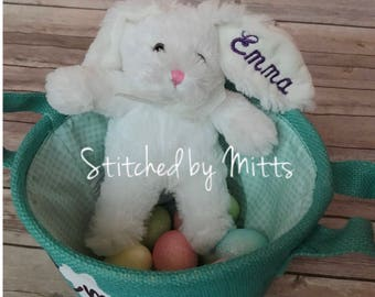 WHITE Personalized Easter Bunny, Easter Bunny, Personalized Gift, Easter, Easter Gift, personalized Easter gift, Easter rabbit,Personalized