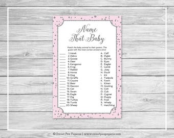 Pink and Silver Baby Shower Name That Baby Game - Printable Baby Shower Name That Baby Game - Pink and Silver Confetti Baby Shower - SP150