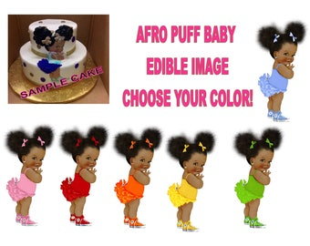 Afro Puff Baby Edible Image