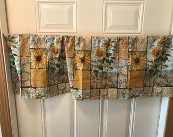 Country Sun Flowers kitchen curtain valance