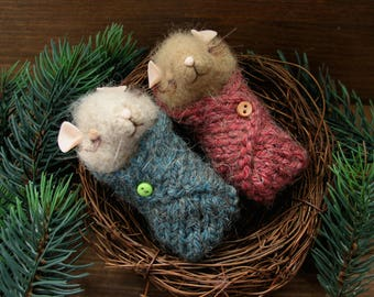 Little sweet mice in the nest.