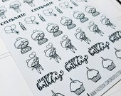 Cora - Birthday/ Celebrate | mid size monochrome character / action | Planner stickers