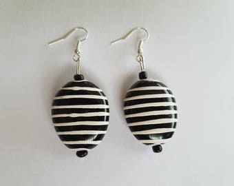 Black and White Pinstripe Earrings