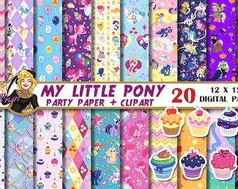My Little Pony digital paper, My Little Pony clipart, pony party, pony birthday, Pinkie Pie, invitation, Scrapbook, background, pattern,pony