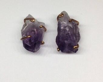 Raw Amethyst Crystal Stud ( A-3)