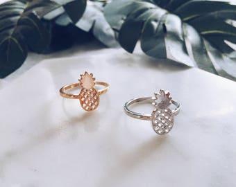Minimalist Malibu Pineapple Ring in Gold or Silver