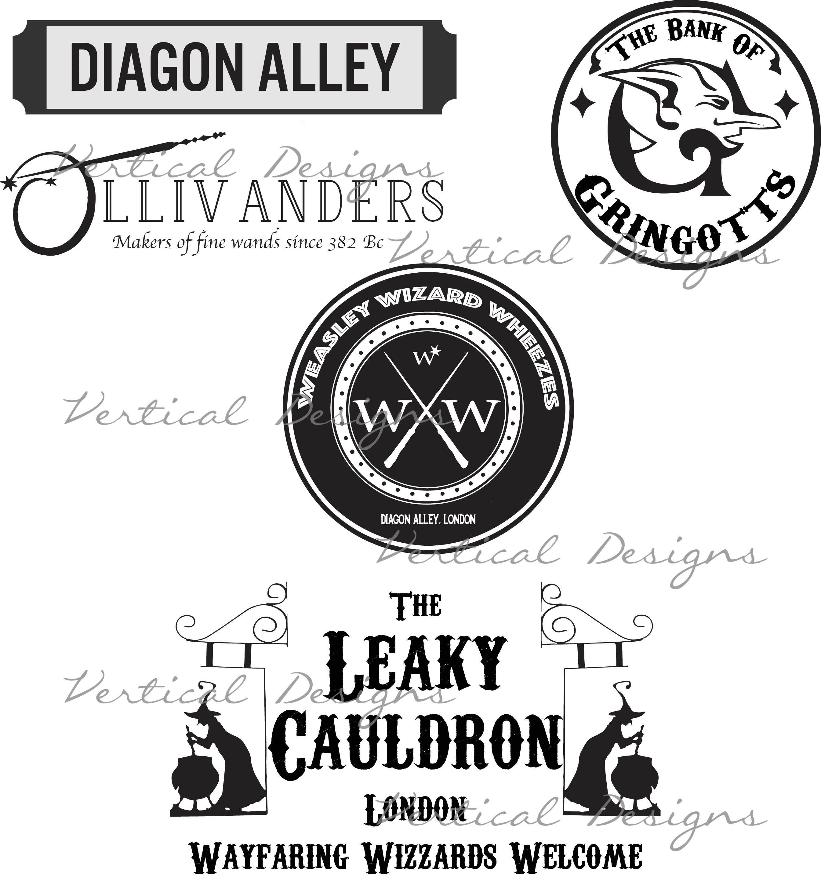 Diagon Alley Shops Svg From Verticaldesignsphoto On Etsy