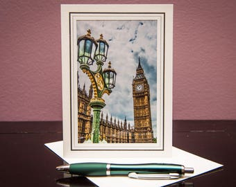 Big Ben Day-Greeting Card-Note Card-Travel-Home Office Decor-Matted Art Print-Gift-Photo-Art-London-UK-Vacation-Architecture-Building-Clock