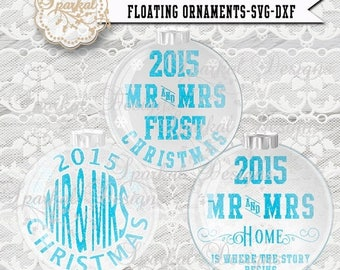 ON SALE MR & Mrs  First Christmas Floating Ornament Svg -All years included- svg File  Christmas Ornament Vintage Christmas scene Snow Glass