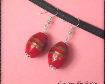Orange-red and Gold Oval earrings