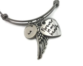 Personalized Memorial Jewelry, Memorial Gift, Forever In My Heart, Memorial Bracelet, Sympathy Gift, Angel Wing Jewelry,  Custom Memorial