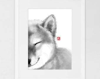 Smiling Shiba Face (LARGE)Art Poster Japanese Dog Sumi-e Painting Ink  Zen Print Ink Drawing Dog Lover Wall Deco Pet Brush illustration B&W