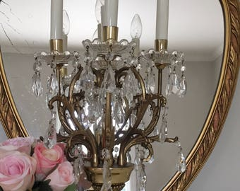 Vintage Crystal Brass Candelabra Chandelier Lamp Light
