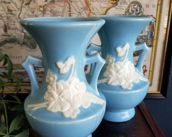 Weller pottery vases - pair // cameo // blue and white // 1930 // vintage vases // pottery // vintage pottery vase