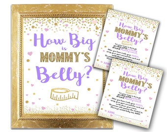 Baby Shower Game - How Big Is Mommy's Belly? - Purple and Gold Girl Shower Decor and Games - Party Instant Download Hearts Glitter Confettii