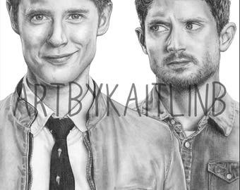 PRINT of Dirk and Todd Graphite Drawing