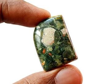80% Sale Rhyolite Cabochon 34.5 Cts Natural  Rainforest Jasper Gemstone Free Form Shape Loose Cabochon 27x20x7 MM AC2329