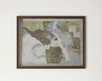 San Francisco Bay Area Map: FRAMED Hardwood Distressed BLACK & GOLD - Vintage Nautical Map of the Bay Area - 20th C.