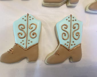Turquoise and Gold Cowgirl Cowboy Boot Cookies | Wild West Cowboy Theme