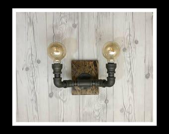 Steampunk Sconce - Industrial decor - Industrial wall light - Wood light - wall light - vintage light - wood sconce - vintage decor