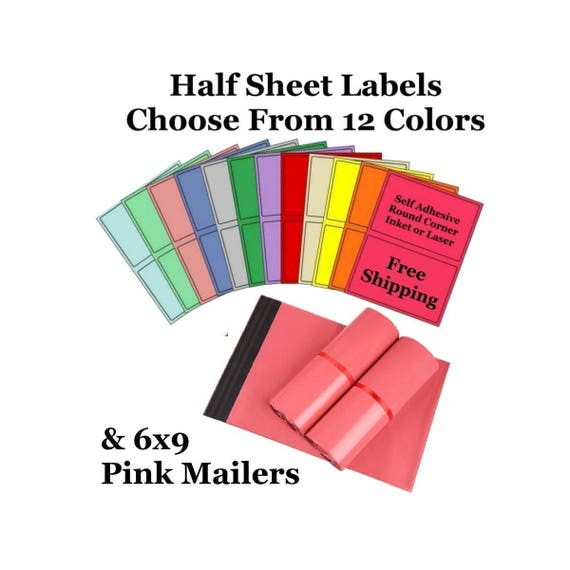 6x9 pink poly mailers colored half sheet self for Colored mailing labels