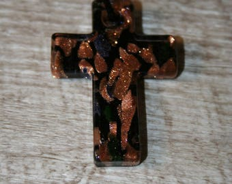 hand made copper and black glass cross pendant