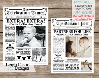 PRINTABLE Newspaper Invitation - Vintage Newspaper Wedding, Newspaper Birthday, Newspaper Save The Date, Roaring 20's, Mini Newspaper Invite