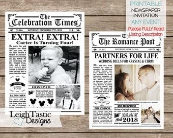 PRINTABLE Newspaper Invitation - Vintage Newspaper Wedding, Newspaper Birthday, Newspaper Save The Date, Roaring 20's, Mini Newspaper Invite