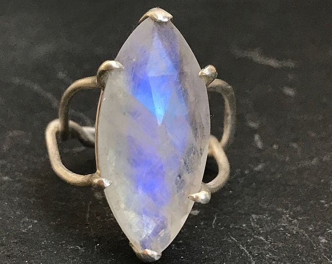 Silver Twisted Moonstone Cocktail Ring