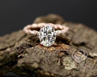 FOREVER ONE D-F Color Certified 9x7mm/2.10 Carats Oval Moissanite 14k Rose Gold Diamond Twisted Shank Engagement Ring(Other Stone Available)