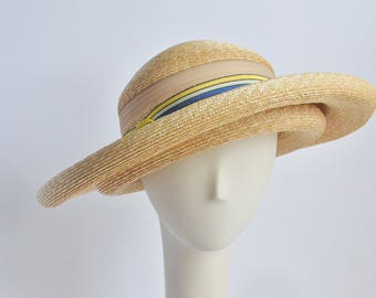 727 - Straw Double Brim Sun Hat with French Ribbon