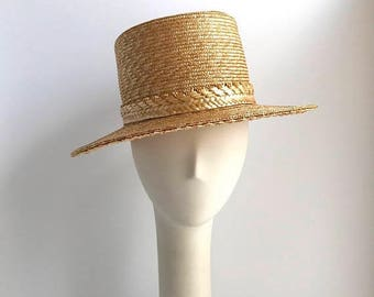 SALE Straw Weave Wide Brim Sun Hat with Rare Diamond and Flower Band