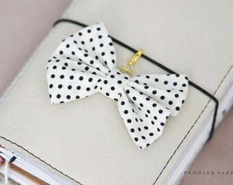 Ivory and Black Polka Dot Fabric Bow Charm Travelers Notebook Foxy Fix Chic Sparrow or Erin Condren