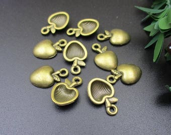 20PCS,15x10mm Apple Charms Antique Bronze Tone-p1415-A