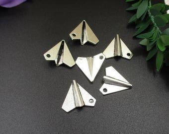 10PCS 19x17mm Paper Airplane Charms Antique Silver Tone-p1505-B