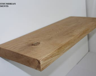 Handcrafted rustic reclaimed solid oak floating shelf / shelves 8 x 2 inch or 195mm x 47mm.