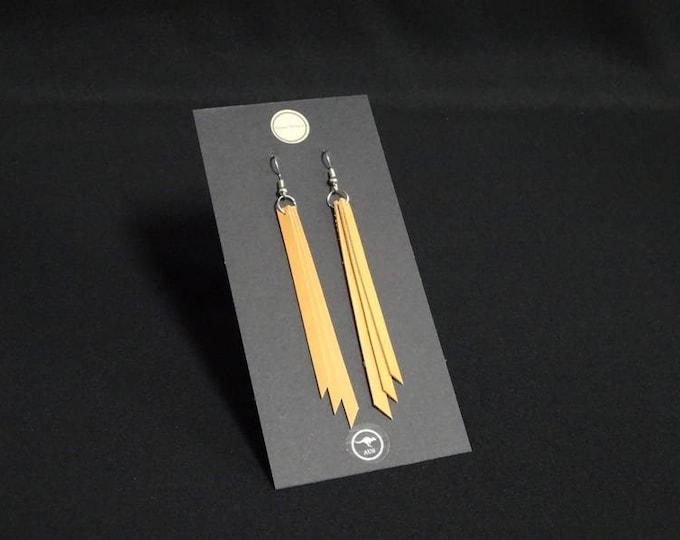 Triple Earring - Natural Tan - Handmade in Australia using genuine Australian kangaroo leather.