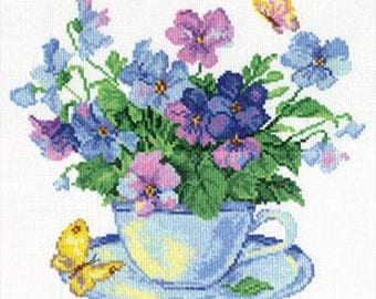 Counted cross stitch kit flower 24x24 cm