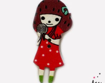 Girl red wooden button