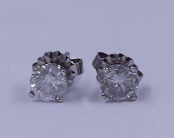 Diamond Stud Earrings One Ct Tw Round Diamond Studs In 14K White Gold