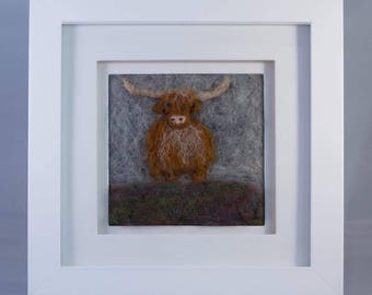 Highland Cow in the mist needle felted fibre art picture. Highland Harry Is needle felted from Shetland and Gotland wools onto linen