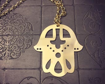 Large hamsa etsy large hamsa hand pendant necklace hamsa pendant protection necklace gift for her mozeypictures Image collections